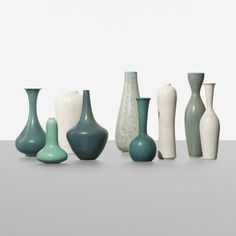 Gunnar Nylund collection of nine vases