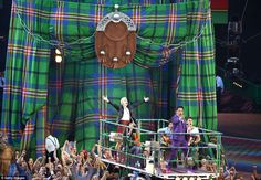 Karen Dunbar and John Barrowman perform at the beginning of the opening ceremony in Glasgow. JOHN BARROWMAN IS IN GLASGOW!!!!! I LIVE THERE!!!!!OMG.