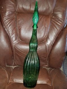 Vintage Green Glass Decanter W/Stopper by VintageBarnYard on Etsy
