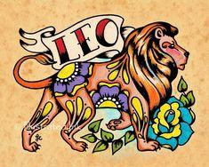 Zodiaco Tattoo arte LEO León astrología por illustratedink en Etsy
