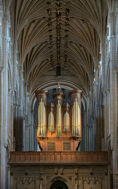 Organ, Norwich Cathedral. Cathedral Church of Holy and Undivided Trinity. Diocese of Norwich. Built 1094