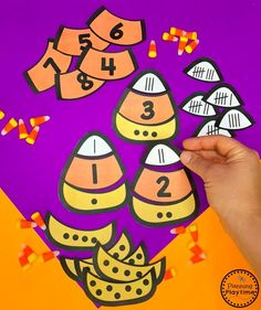 Halloween Math Game - Candy Corn Subitizing Puzzles Looking for fun Preschool Halloween Activities? This set of fun Hands-on Centers and Printables are the perfect addition to your Preschool Halloween Theme. Halloween Theme Preschool, Halloween Letters, Halloween Worksheets, Halloween Tags, Halloween Activities, Halloween Themes, Art Worksheets, Preschool Worksheets, Halloween Crafts
