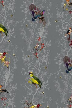 Timorous Beasties Wallcoverings - Birds n Bees How much do I love this paper! Would looooove curtains like this.