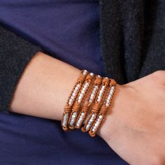 Chan Luu - White Mother of Pearl Wrap Bracelet on Knotted Natural Brown Leather