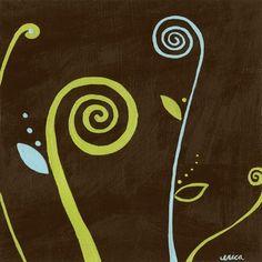 """Green Frog Art """"Fiddle-dee dee II"""" 6""""x6"""" Canvas Gallery Wrapped Art - A101-63154VS"""