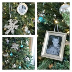 Silver, White and Turquoise Christmas Tree + Framed Picture Ornaments