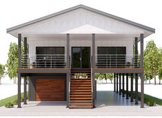 affordable homes 03 house plan Coastal House Plans, Beach House Plans, Modern House Plans, House Floor Plans, Thai House, Tropical House Design, Small House Design, Stilt House Plans, House On Stilts Plans
