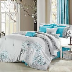 Pink Floral Grey Aqua Comforter Bed In A Bag Set 8 Piece