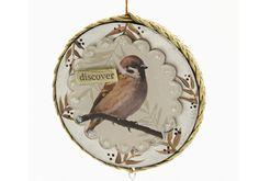 Decoupage - Nature Paper Mache Disc Ornament