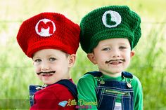 Mario Brothers Crochet hat Mario and Luigi set by TheAppleandTree, $30.00