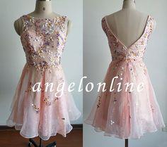 Pink Lace Beaded Homecoming Dress Short 2015 von Angelonlinedress