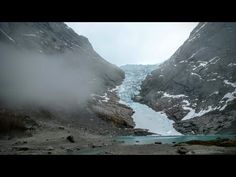 Heavy fog at Briksdalsbreen glacier