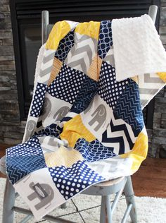 Patchwork Baby Blanket Modern Baby Quilt Navy by GiggleSixBaby