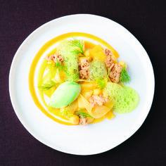 Dill sorbet with mango and macadamia crunch | FOUR Magazine