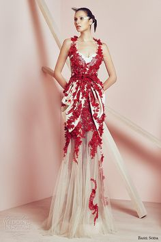 basil soda couture 2015 dress red applique sweetheart neckline gathered hip gown #couture #fashion #eveninggown
