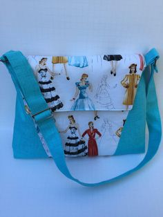 """1940""""s Style models in Turquoise and cream print, Everyday Bag, Shoulder Purse, Crossbody, Messenger by JazzyJoDesigns on Etsy"""