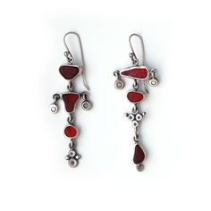 Mismatched sea glass earrings in red by Tania Covo