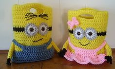 """Minion Purses Or Treat Bags by Knotty Hooker Designs - This pattern is available for $5.50 USD. This is a written pdf pattern for my Minion Purses Or Treat Bags. Finished size is appx. 6"""" wide x 8"""" tall."""