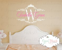 Princess Name Wall Decal with Initial and Tiara Crown Accent - Baby Girl Nursery or Teen Wall Decal 22H x 32W BA0337. $49.00, via Etsy.