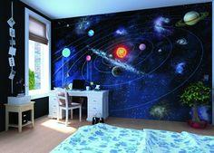 Kinderzimmer Mit Sonnensystem An Der Wand Fototapete Kinderzimmer, Modernes  Kinderzimmer, Kinderzimmer Junge, Weltraum