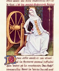 Fortuna.  «Le Livre des échecs amoureux moralisés», 1496-1498, by  Robinet Testard.  ......    Habetrot: Well, she's not really spinning fiber, just turning the wheel of fortune, but she can stay, anyway.