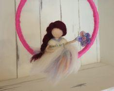 Needle felted art doll Waldorf inspired Woolen doll Home decor Felt Crafts Diy, Arts And Crafts, Wool Dolls, Doll Home, Felt Fairy, Flower Fairies, Pansies, Christmas Tree Ornaments, Needle Felting