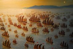 Zhenghe's fleet.  The grand voyage of Admiral Cheng Ho with hundreds of fleet    According to the Malaysian history, Sultan Mansur Shah (ruled 1459–1477) dispatched Tun Perpatih Putih as his envoy to China and carried a letter from the Sultan to the Ming Emperor. Tun Perpatih succeeded in impressing the Emperor of Ming with the fame and grandeur of Sultan Mansur Shah.