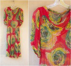 1920s 30s chiffon dress / sheer maxi dress / art deco dress / see thru evening dress, xs-small
