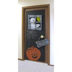Use large foam board, Painters, and other embellishments to make spooky, DIY door decor for Halloween! Fall Classroom Door, Classroom Decor, Halloween Door, Halloween Crafts, Halloween Ideas, Large Foam Board, School Door Decorations, School Doors, Window Cards
