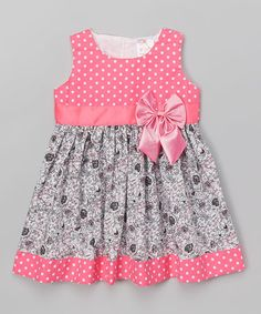 Another great find on #zulily! Hot Pink Polka Dot & Floral A-Line Dress - Toddler & Girls #zulilyfinds