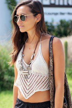 White Women Bralet Crotchet Crop Top
