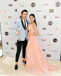 Image may contain: 2 people, people standing and wedding Cute Celebrities, Indian Celebrities, Celebs, Bollywood Stars, Bollywood Fashion, Tube Gown, Peach Gown, Erica Fernandes, Popular Actresses