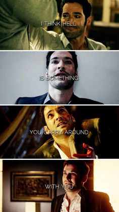 """""""I think hell is something you carry around with you. Geeks, Devil You Know, Tom Ellis Lucifer, Dc Comics, Preston, Morning Star, Series Movies, Movies Showing, Favorite Tv Shows"""
