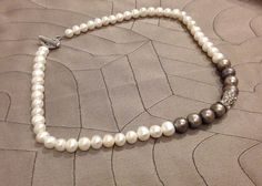 diamanté hourglass NECKLACE gray, white fresh water pearls with sterling silver rope toggle clasp on Etsy, $74.00