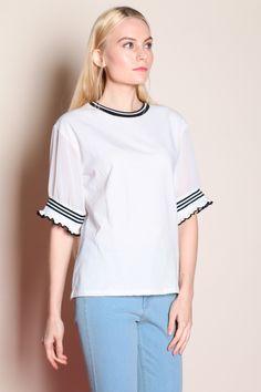 Ribbed Hem Sleeve Top (White) SGD$ 28.00