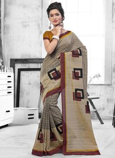 Staggering Print Work Art Silk Casual Saree