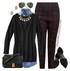 """""""Plus Size - Tartan Pants"""" by alexawebb ❤ liked on Polyvore featuring Mossimo, 3.1 Phillip Lim, Blee Inara, Blu Bijoux, MANGO, plus and size"""