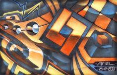 Abstrato metálico, lápis de cor A4