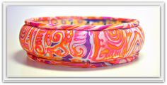 Polymer Clay Mokume Gane Bracelet, via Flickr. Purple-Hot Pink-Orange