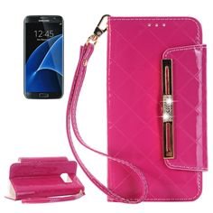 [USD5.20] [EUR4.75] [GBP3.69] Horizontal Flip Leather Case of Hardware Diamond Handbag with Card Slots & Wallet & Holder for Samsung Galaxy S7/G930(Magenta)