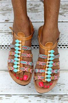 Colorful mint flat sandals. Spring/summer 2016.