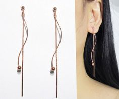 Clip-ons Dangle Earrings 18B Rose Gold Ball Twisted by boadNNcraft