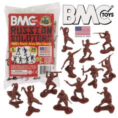 Marx BMC reissue WWII Russian infantry x 36 toy soldiers in redbrown or red Plastic Toy Soldiers, Plastic Soldier, Mighty Power Rangers, Green Army Men, Classic Army, Male Figure, Old Toys, Vintage Toys, Retro Toys