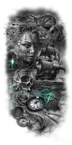 tattoo designs gallery - Tattoos And Body Art Tattoos And Body Art Ship Tattoo Sleeves, Full Sleeve Tattoos, Tattoo Sleeve Designs, Tattoo Designs Men, Art Designs, Design Ideas, Skull Tattoos, Body Art Tattoos, Cool Tattoos