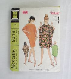 Vintage McCall's dress pattern 9149 size large 16-18 1960s instant dress 1968 batwing by ResourcefulGoods on Etsy