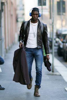 Men's street style. Ronald Epps - MMFW2014.