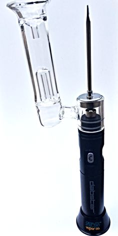 The Dabster by STAG Vapor Co. This portable electronic dab rig allows you to dab on the go. Featuring a titanium nail and glass percolator, this rig is a fully functional dab rig without the need for