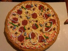 Pizza cake Pizza Cake, Awesome Cakes, Pepperoni, Younique, Turning, Food, Essen, Meals, Wood Turning