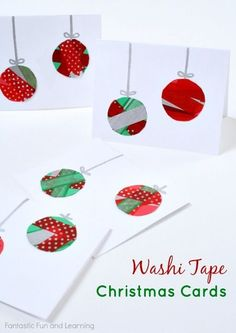 15 DIY Christmas Cards Kids Can Make Washi Tape Ornament Christmas Cards from Fantastic Fun and Learning Christmas Card Crafts, Noel Christmas, Christmas Activities, Xmas Cards, Handmade Christmas, Holiday Crafts, Christmas Ornaments, Kids Ornament, Craft Activities