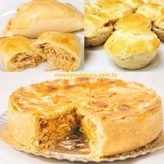 Guarana Dough For Oven Pastries, Dumplings & Empadões - quiche e tortas - Comidas Love Eat, I Love Food, Good Food, Yummy Food, My Recipes, Cooking Recipes, Favorite Recipes, Snack Recipes, Quiches
